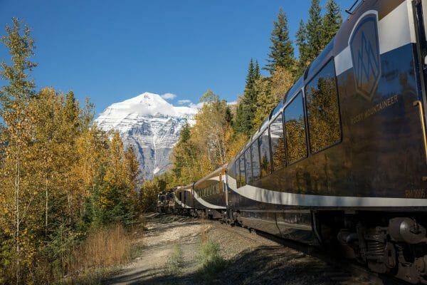Rocky Mountaineer traveling towards Mount Robson on Journey through the Clouds. Photo courtesy Rocky Mountaineer