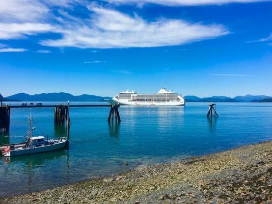 luxury cruise on Regent Seven Seas - The Regent Seven Seas Mariner off the Alaska coast. Photo by Catherine Parker