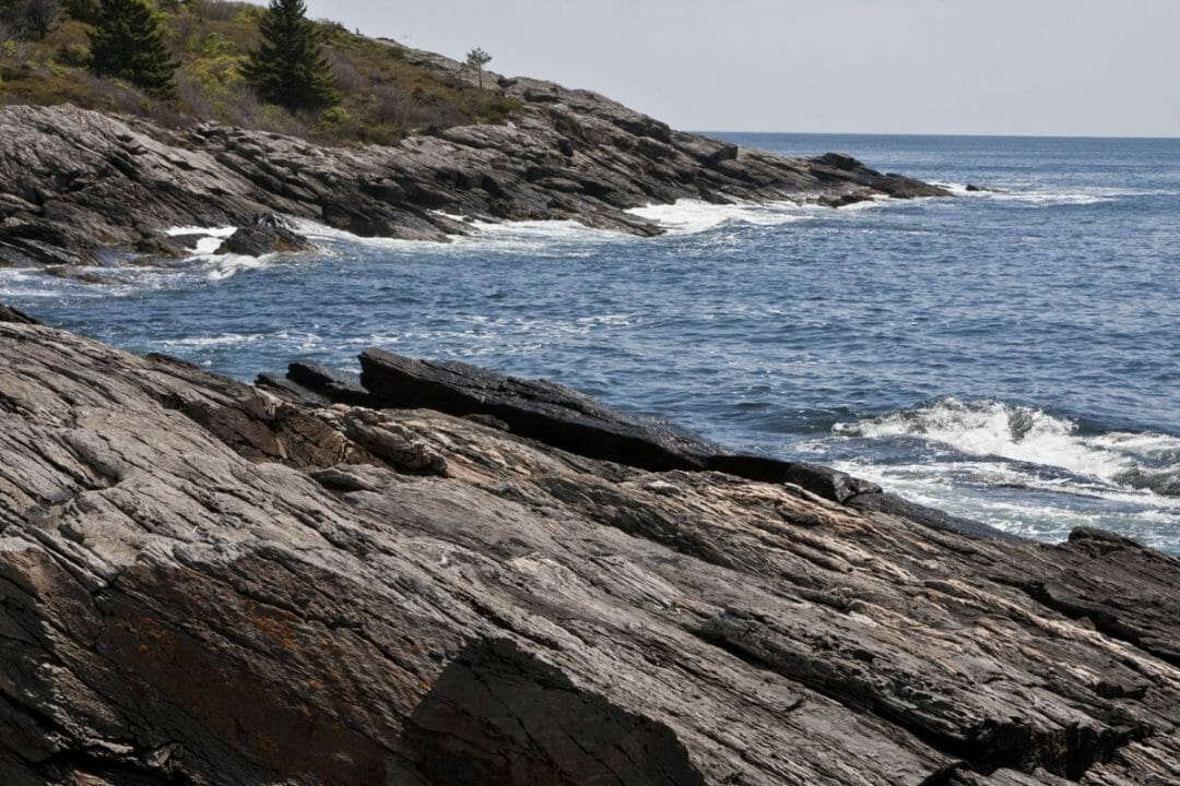The rugged coast of Prout's Neck at Prouts Neck on the Southern Maine road trip