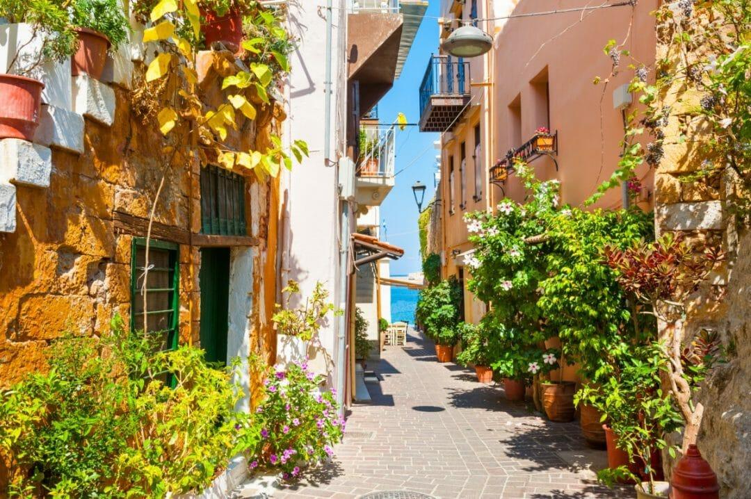 Beautiful street in Chania, Crete island, Greece. Photo courtesy Adobe Stock