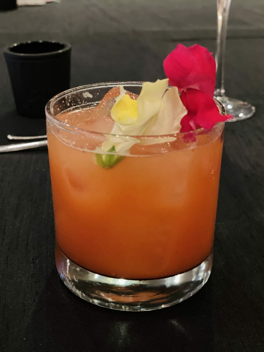 Blood Flower cocktail is the first drink at Late Lunch & Learn at Sanctuary on Camelback. Photo by Susan Lanier-Graham