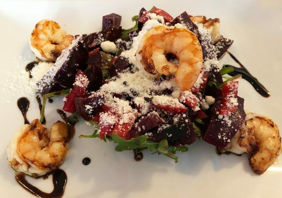 La Cosecha Beets and Grilled Shrimp ©Cori Solomon Paso Robles